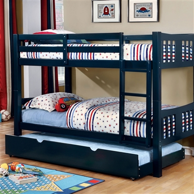 Cameron Blue Twin/Twin Bunk Bed with Ladder