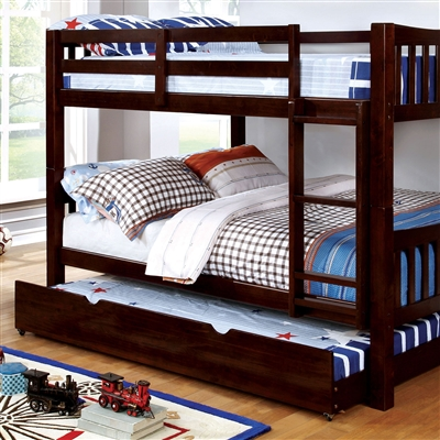 Cameron Espresso Twin/Twin Bunk Bed with Ladder
