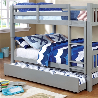 Cameron Gray Twin/Twin Bunk Bed with Ladder