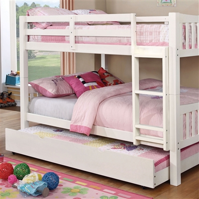 Cameron White Twin/Twin Bunk Bed with Ladder