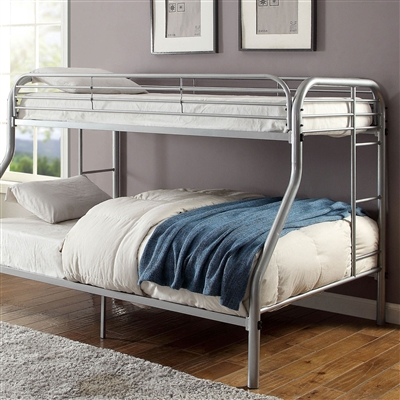 Sturdy Full Metal Construction Silver Twin over Full Bunk Bed