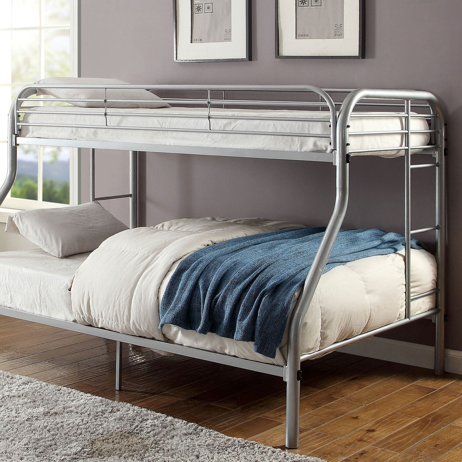 Bed Frames Headboards Footboards Toys Games New Silver Twin Over Twin Metal Bunk Bed Frame