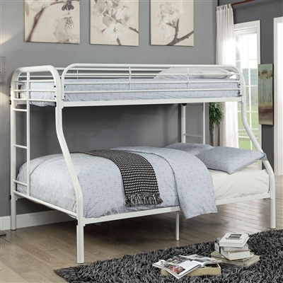 Sturdy Full Metal Construction White Twin over Full Bunk Bed