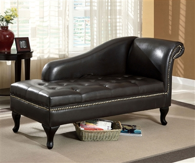 Plush Black Tufted Leatherette Storage Chaise Lounge