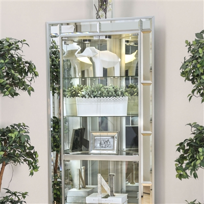 Contemporary Fully Mirrored Curio with Glass Shelving
