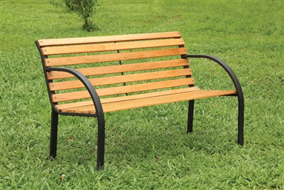 Dumas Cast Iron & Wood Patio Bench