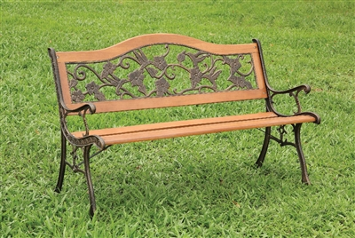 Alba Antique Oak Finish Floral & Bird Design Bench
