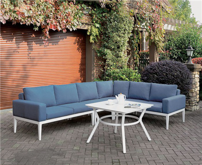 Sharon Transitional Blue & White Patio Sectional