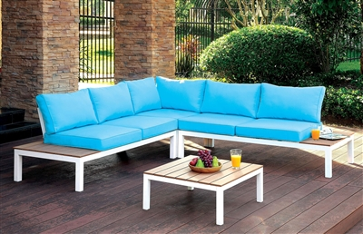 Winona Patio Sectional with Blue Cushions