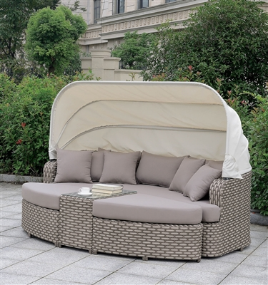 Riya Brown Wicker 4 Piece Patio Daybed