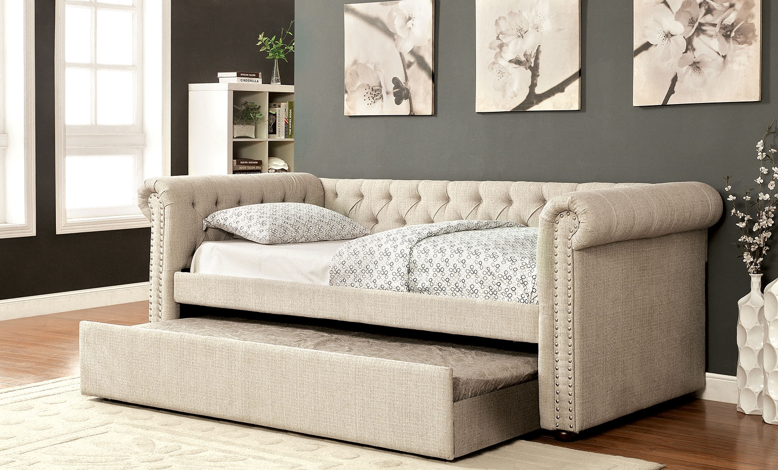 - Leanna Queen Size Tufted Upholstered Daybed With Rolled Arms
