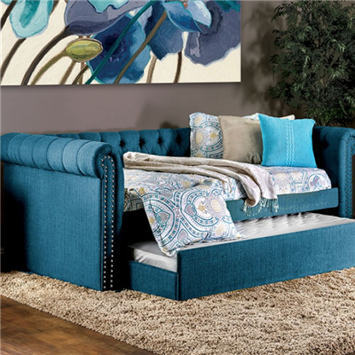 Leanna Dark Teal Upholstered Daybed