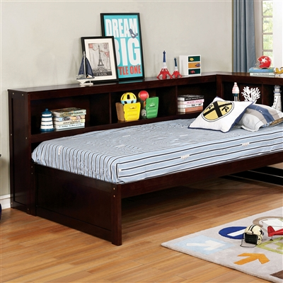 Espresso Finish Twin Daybed with Bookcase Headboard