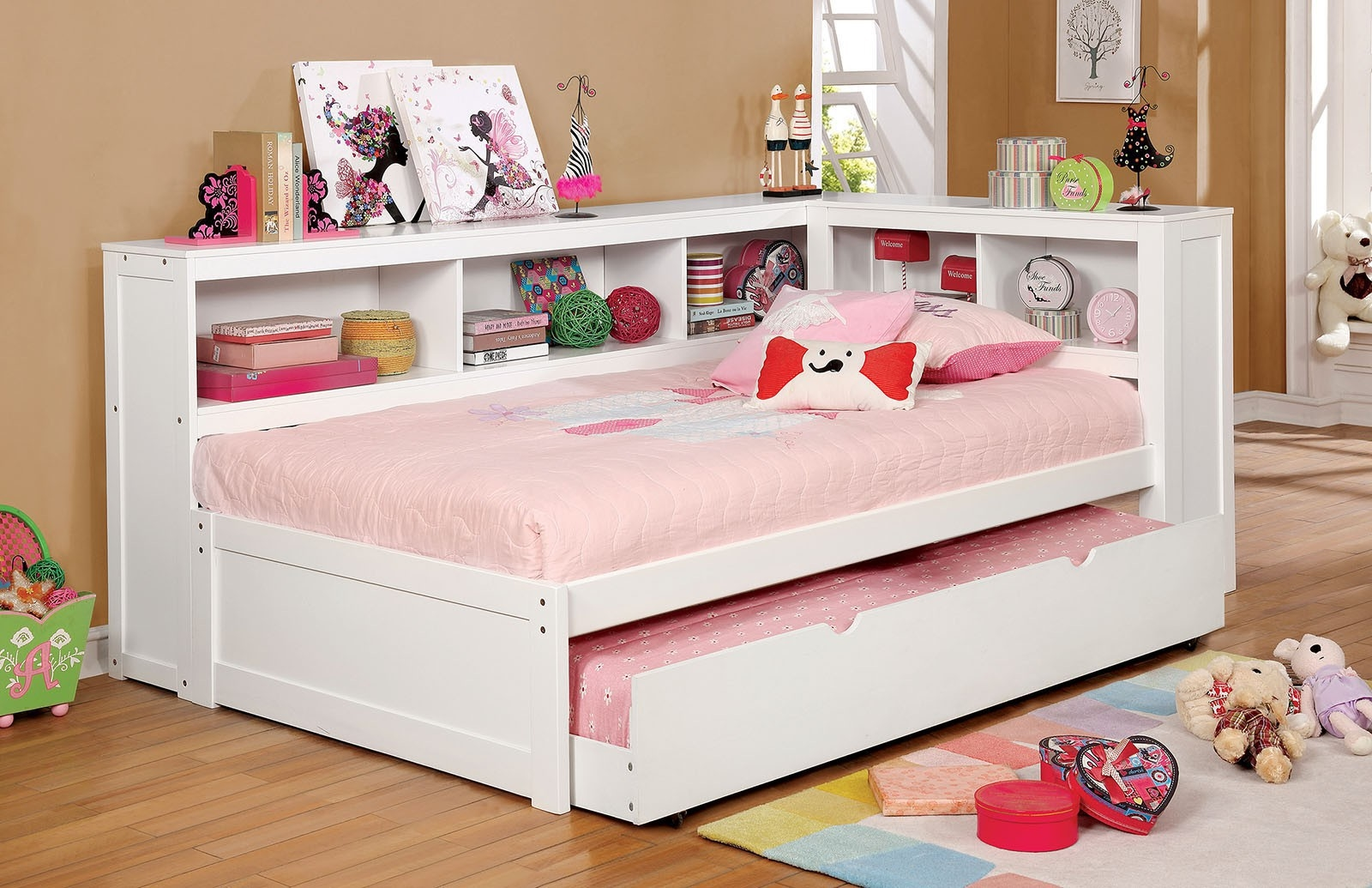 Bright White Twin Daybed with Bookcase Headboard