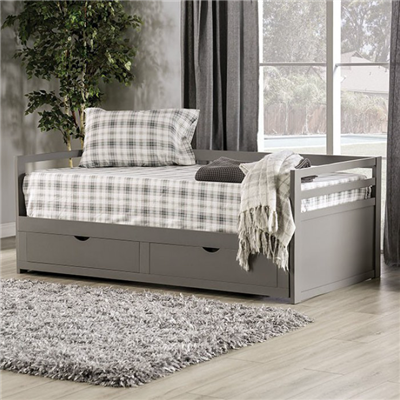 Nancy Twin Daybed with Extendable Trundle in Grey - Furniture of America CM1745