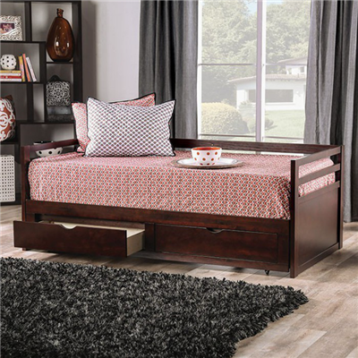 Nancy Twin Daybed with Extendable Trundle in Espresso - Furniture of America CM1745
