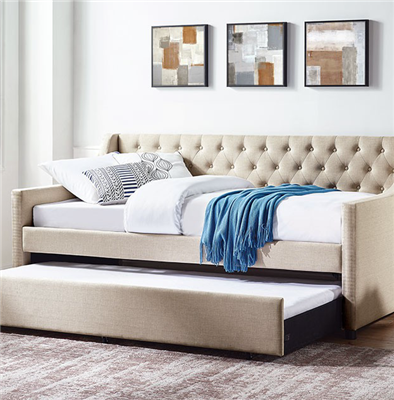 Emmy Button Tufted Twin Daybed with Trundle in Beige