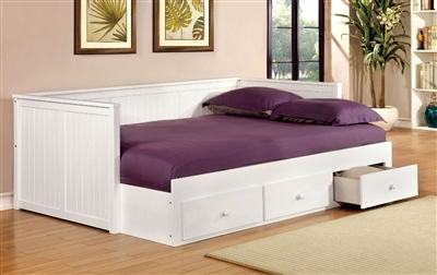 Wolford Full Size White Finish Daybed w/ Storage Drawers