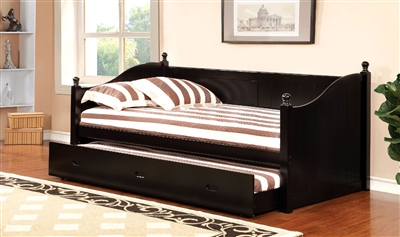 Walcott Black Finish Contemporary Twin Daybed With Trundle