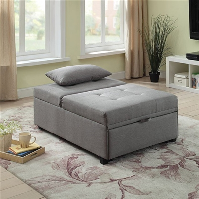 Oona Transitional Style Futon Sofa in Gray - FOA CM2543GY