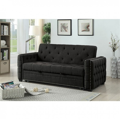 Leonora Transitional Style Futon Sofa in Gray - FOA CM2604