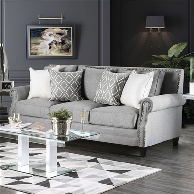 Gray Linen Sofa With Silver Nail Head Trim