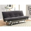Gallagher Contemporary Futon Sofa in Gray/Chrome - FOA CM2675GY