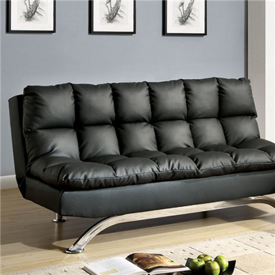 Aristo Contemporary Futon Sofa in Black/Chrome - FOA CM2906