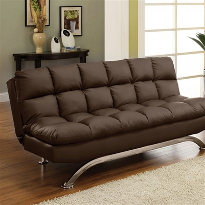 Aristo Contemporary Futon Sofa in Dark Brown/Chrome - FOA CM2906DK