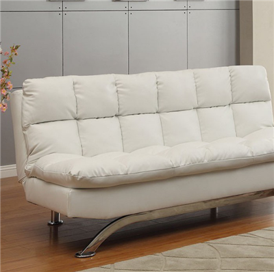 Aristo Contemporary Futon Sofa in White/Chrome - FOA CM2906