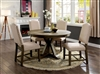 Transitional Style Light Oak Finish 5 Piece Round Dining Set with Beige Upholstered Chairs