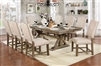 Transitional Style Light Oak Finish 9 Piece Dining Set with Beige Upholstered Chairs