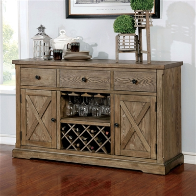 Light Oak Finish Dining Server with Wine Storage