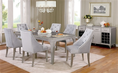 Contemporary weathered gray dining set with mirrored accents