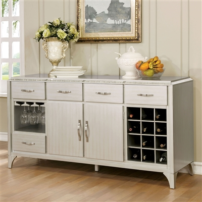 Glam Style Gray/Silver Finish Server with Mirror Accents