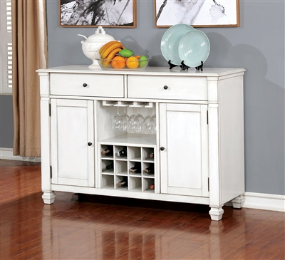Kaliyah Antique White Finish Server w/ Wine Storage