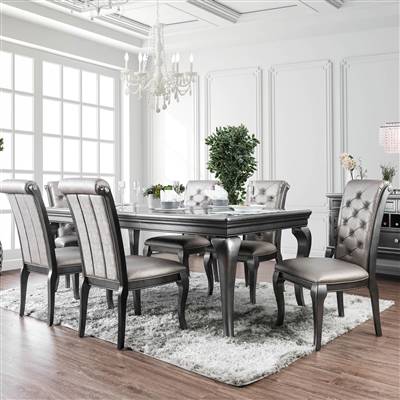 7-Piece Transitional Glam Style Formal Dining Set