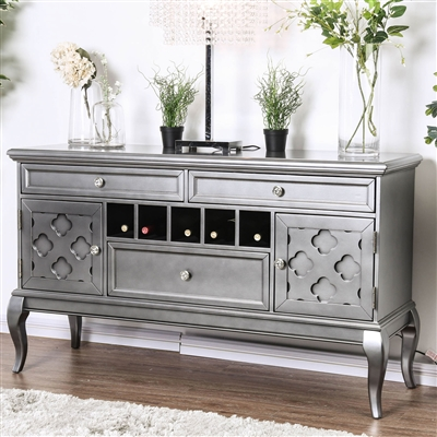 Glam Style Silver Finish Dining Server