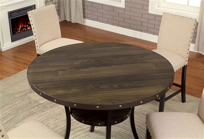 Light Walnut Finish Counter Height Dining Table with Lower Shelf