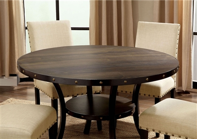 Light Walnut Finish Dining Table with Lower Shelf