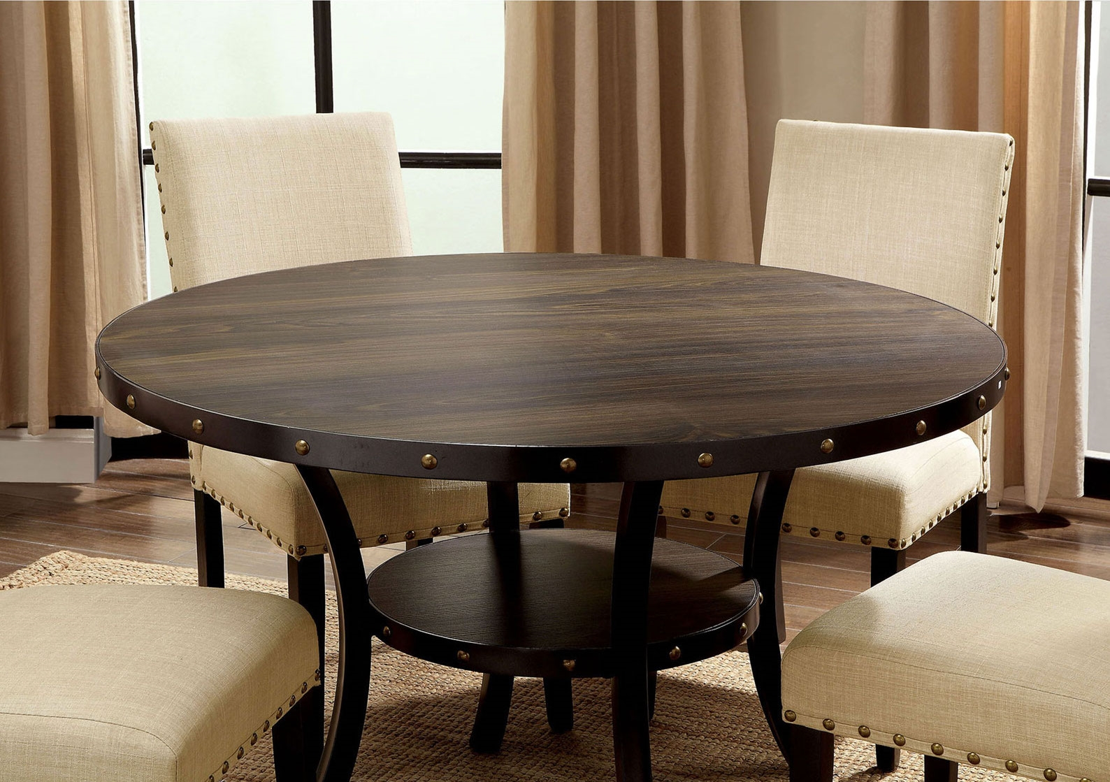 Kaitlin Light Walnut Round Dining Table With Lower Shelf