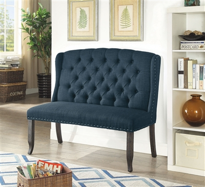 Sania III Navy Blue & Antique Black Dining Bench