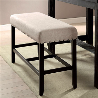 Sania Beige Linen Wingback Counter Height Bench