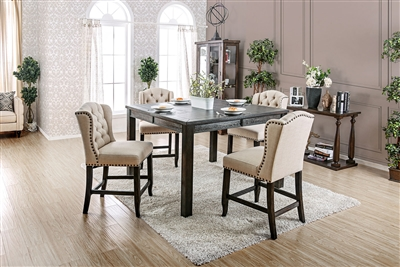 Antique Black Finish 5 Piece Counter Height Dining Set