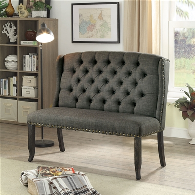 Sania III Seater Gray Linen Dining Bench