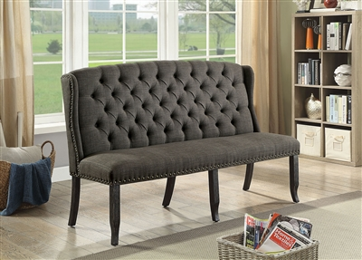 Sania I 3 Seater Gray Linen Dining Bench