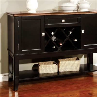 Transitional Black & Cherry Finish Dining Server