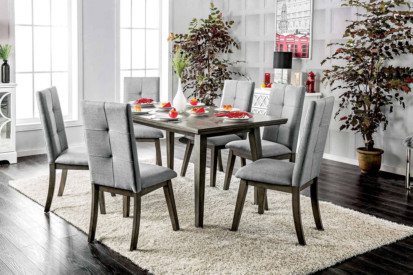 Mid-Century Modern Style Gray Finish Dining Set