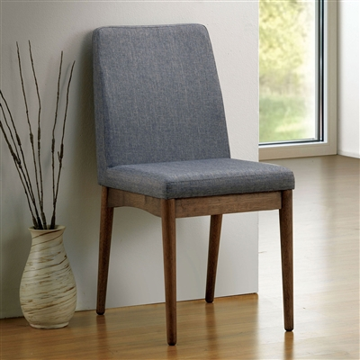 Mid-Century Modern Dining Site Chair with Grey Upholstery & Wood Frame