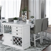 Sutton White Counter Height Dining Set with Wine Storage